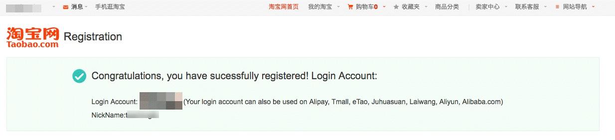 đăng ký tài khoản taobao thành công